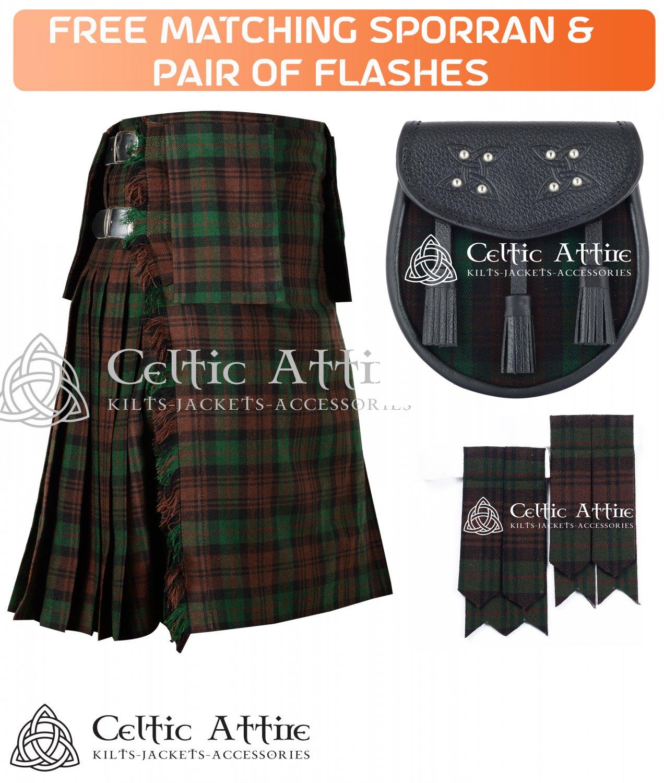 40 Size Scottish 8 Yard Brown Watch TARTAN Kilt Package � KILT � SPORRAN � FLASHER