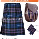 40 Size Scottish 8 Yard Pride of Scotland TARTAN Kilt Package – KILT – SPORRAN – FLASHER