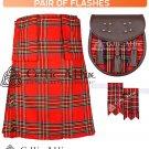 32 Size Scottish 8 Yard Royal Stewart TARTAN Kilt Package – KILT – SPORRAN – FLASHER