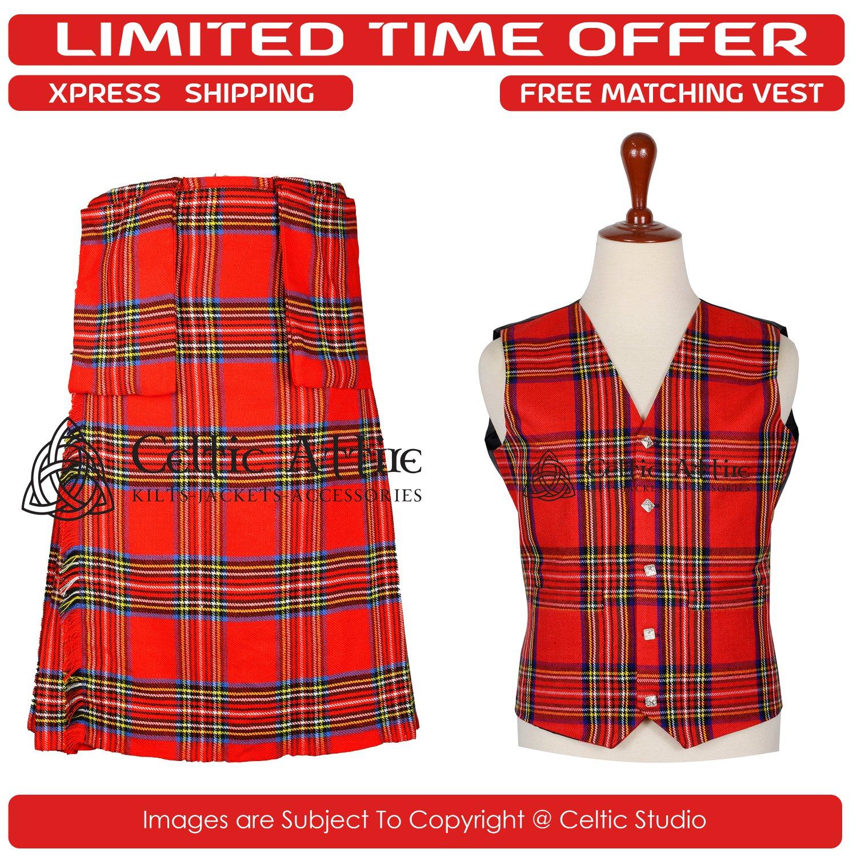 38 Size New Scottish 8 Yard Royal Steward Tartan Kit for Men � Free Matching Vest / Waistcoat