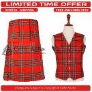 46 Size New Scottish 8 Yard Royal Steward Tartan Kit for Men – Free Matching Vest / Waistcoat