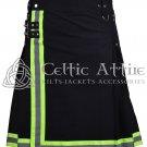 Custom Size Mens Scottish Utility Black Cotton Kilt for Fireman Firefighter