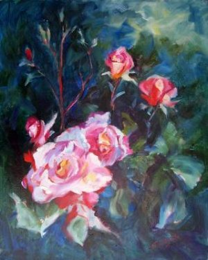 """""""A Rose Garden"""" Floral Oil Painting by Listed Calif Artist Impressionism"""