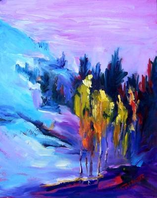 """""""Aspens Abstracted"""" Original Fall Landscape by Listed California Artist"""