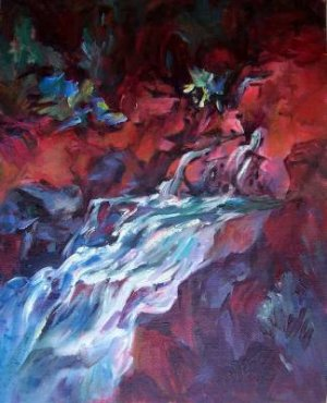 """""""Running Water"""" Original California Landscape Oil Painting by Listed Artist"""