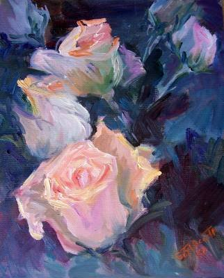 """Roses Abstracted"" Original Oil Painting Listed Calif Artist Acosta"