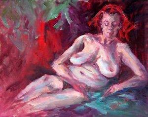 """Repose"" Original Oil Painting Nude Listed Calif Artist Acosta"