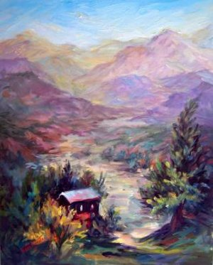 """Los Olivos Valley"" Large Calif Landscape Orig Oil Painting Listed Acosta Artist"