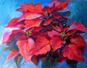"""Deck The Halls"" Orig Oil Painting Floral List Cal Artist Acosta"