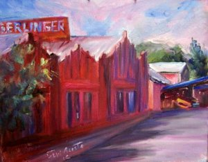 "SALE ""Gerlinger Steel"" Orig plein-air Calif landscape oil painting by listed Acosta artist"