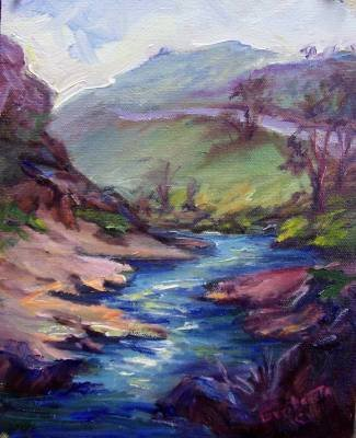 """Road To Dry Creek"" Orig landscape pleinair oil painting Acosta colorest"