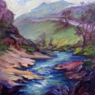 """Road To Dry Creek"" Orig landscape pleinair oil painting Acosta colorest"