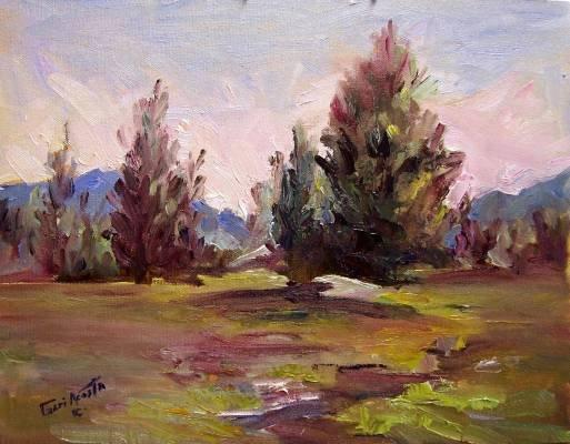 "SALE ""Landscape Study"" Orig landscape oil painting impressionism by listed Acosta artist"