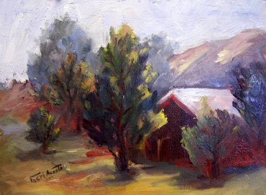 """Barn"" Original oil Calif landscape painting plein-air listed Acosta artist"