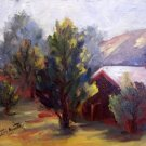 """Barn"" Original oil Calif landscape painting plein-air listed Acosta artist"