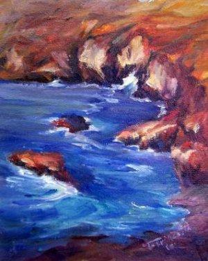 "SALE: ""Coastal Cliffs"" Original Calif landscape oil painting by winning colorest Acosta"