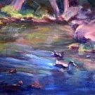 "SALE: ""Duckies"" Original landscape pond Calif oil painting list Acosta artist"