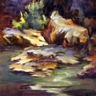 """Rock Formations"" Original plein-air landscape oil painting listed Acosta artist"