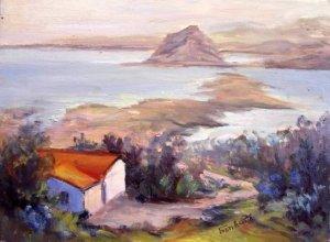 """Overlooking Morro Bay"" An orig Calif plein-air seascape by artist Geri Acosta"
