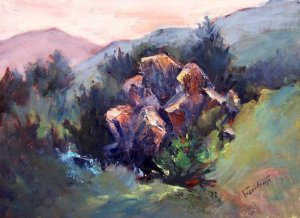 """Rock Me Baby"" Original Calif Landscape Plein-Air Oil Painting by Winning Colorest Acosta"