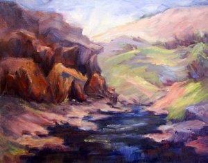 """Deer Creek Fantasy"" Original Calif Landscape Oil Painting by winning colorest Geri Acosta"