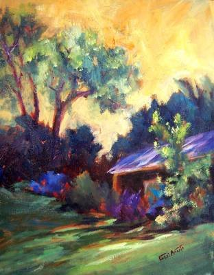 """""""Roof Shadows"""" Orig oil landscape painting by winning colorest Geri Acosta"""