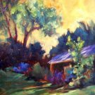 """Roof Shadows"" Orig oil landscape painting by winning colorest Geri Acosta"