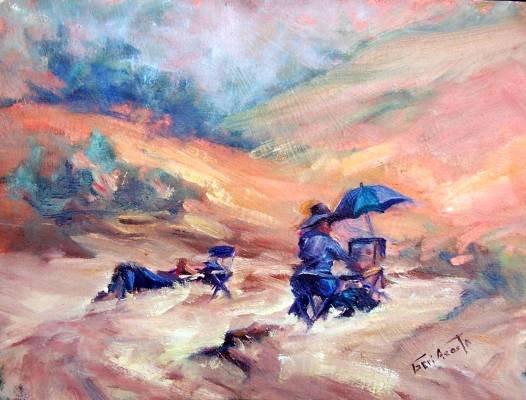 """Artists At Work:"" Original Calif Landscape Oil Painting by Geri Acosta"