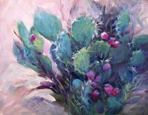 """POPULAR: """"Cactus Found"""" Original Impressionistic Landscape Still Life Oil Painting by Geri Acosta"""