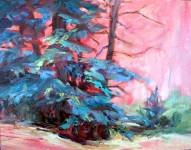 """Forest Dance"": Expressionistic Original Palette Knife Oil Forest Landscape Painting by Geri Acosta"