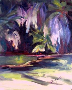 """Aqua Caliente Abstracted"" New plein-air original oil painting by winning colorest Geri Acosta"