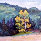 """Proud Individual"" Original pallette knife fall landscape oil painting by Geri Acosta"