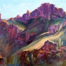 """Sunstreaked"" Original plein-air mountain landscape oil painting by  artist Geri Acosta"