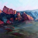 """Mountain Shadows"" Original Sedona plein air landscape oil painting by artist Geri Acosta"