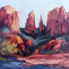 """Cathedral Rock Study"" Original plein air Sedona landscape oil painting by colorest Geri Acosta"