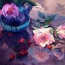 """Fallen Cherries"" Original Floral Still Life Oil by Winning Colorest Geri Acosta"