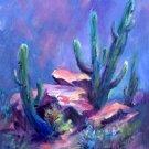 """companions"" original oil painting Tucson saguaros landscape by Geri Acosta"