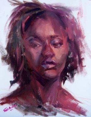 """Beauty In Color"" Original expressionistic oil woman portrait by colorest Geri Acosta"