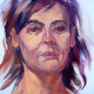 """Sad Eyes"" Original woman portrait oil painting by winning artist Geri Acosta"