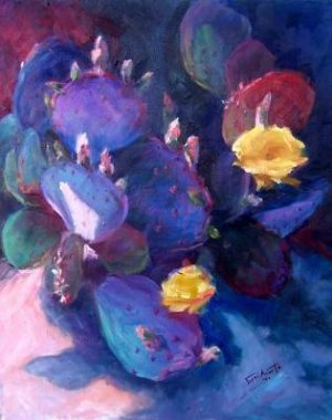"""Spring Has Sprung"" Original colorful blossoming spring cactus oil painting by Geri Acosta"