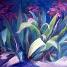 """Blossoming Iris"" Original  floral landscape oil painting by winning colorest, Geri Acosta"