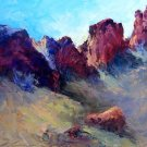 """Sun Peaking Through"" Original plein air Tucson landscape oil by Geri Acosta"