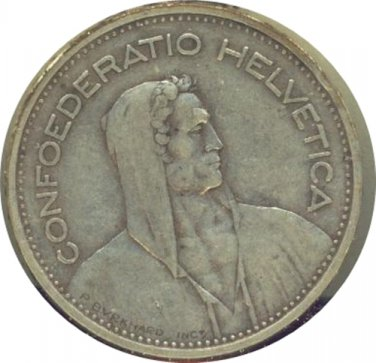 Switzerland 1933B 5 Francs VF