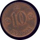 Finland 1921 10 Penni Unc