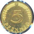 Germany 1950 J 5 Pfennig BU