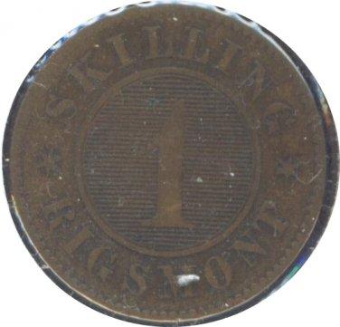 Denmark 1860  1 Skilling F