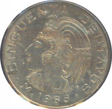 Mexico 1966 50 Centavos BU