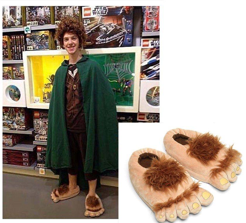On sale MEN Women Slippers Hairy Hobbit Feet Big Feet Home Slipper Creative Gift 35-41 Cosplay shoes