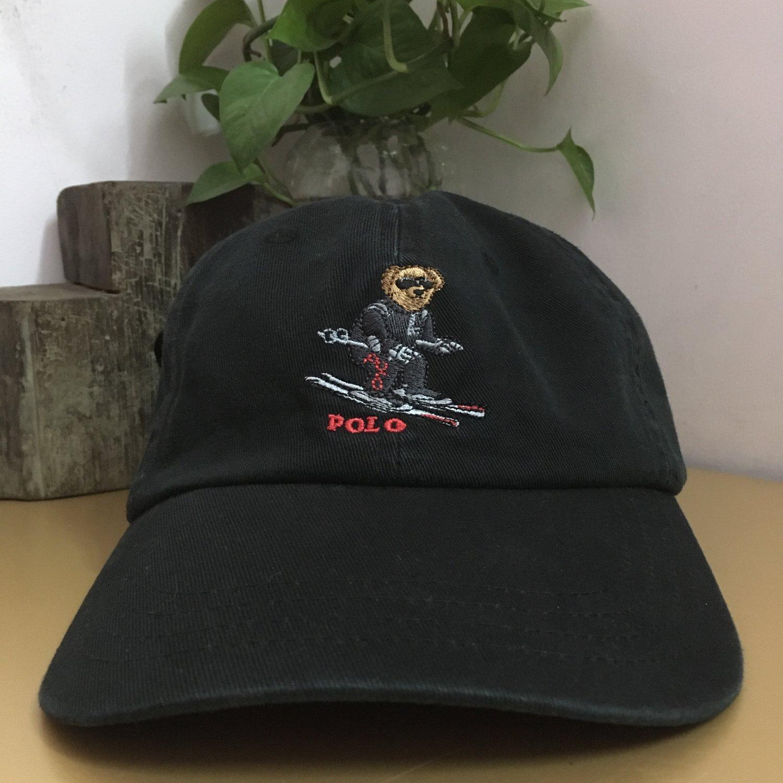 Black Ball Cap Hat Mens Denim Cap Bear hat bear cap dad cap Baseball Cap Accessories
