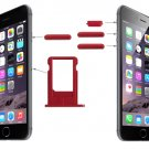 Card Tray & Volume Control Key & Screen Lock Key & Mute Switch Vibrator Key Kit for iPhone 6(Red)